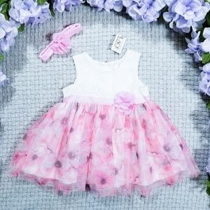 Baby girl pink floral Summer party dress